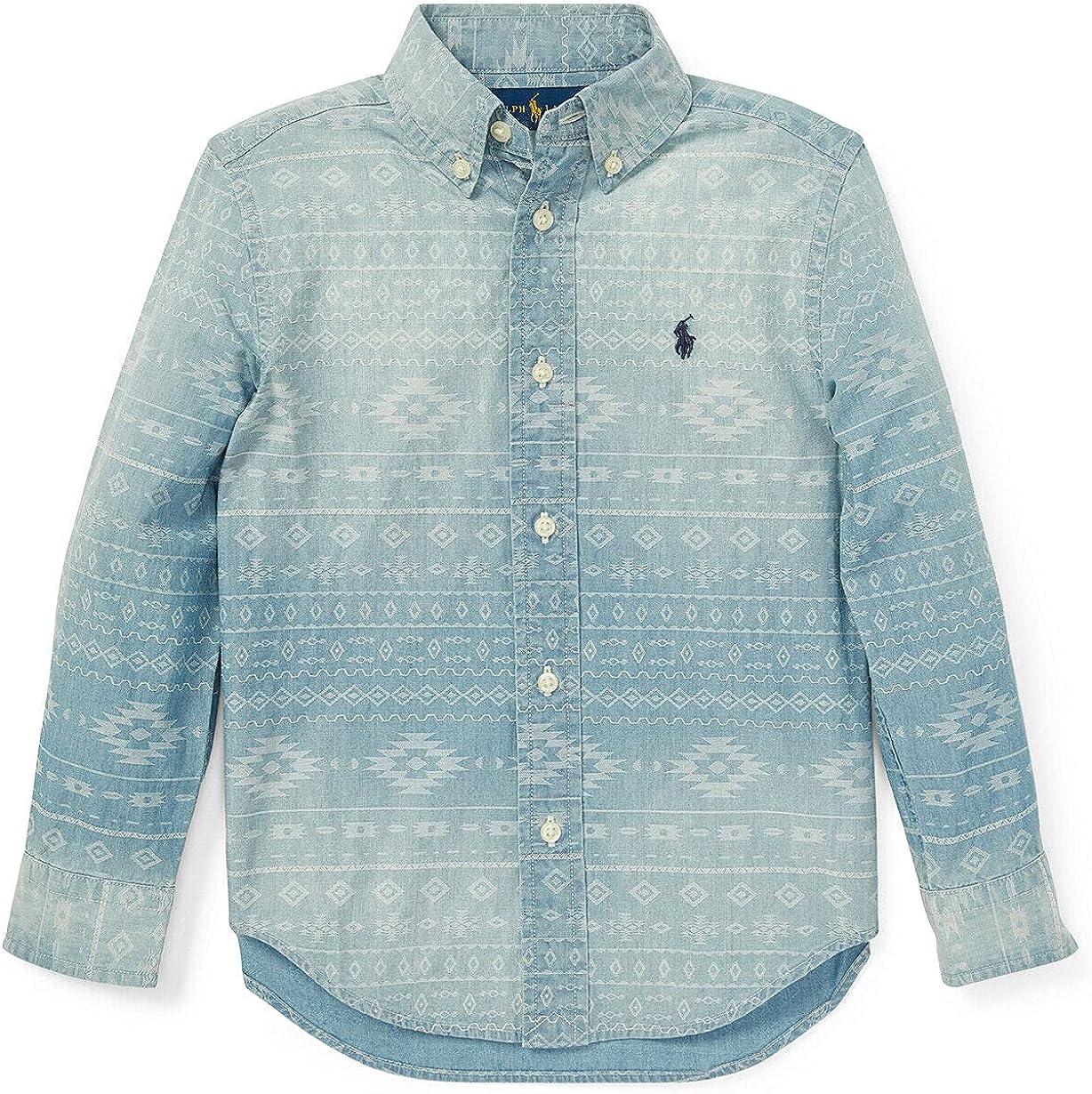 Polo Ralph Lauren Blue Boys Chambray Southwestern Tribal Oxford Shirt 2/2T
