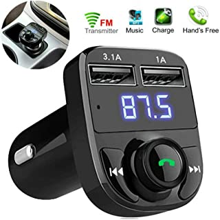 Wireless Bluetooth FM Transmitter, Handsfree Call, Car Charger, Radio Receiver & Mp3 Music Stereo Adapter,Dual USB Port Charger Compatible for All Smartphones, Samsung Galaxy, LG, HTC, Apple & More