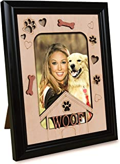 PETAFLOP Pet Picture Frames Memorial Dog WOOF Themed Photo Frame 4 x 6 Wall and Tabletop Display