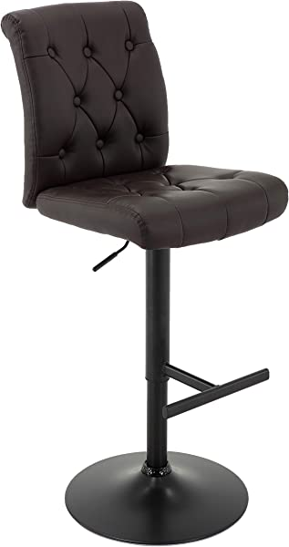 Brage Living PU Leather Adjustable Height Tufted Swivel Bar Stool With T Shape Footrest Dark Brown