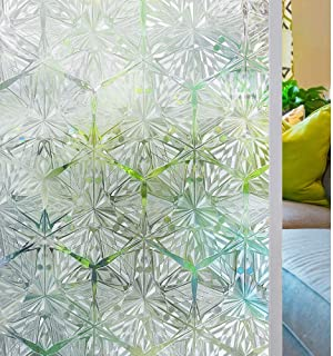 Homein Indoor Privacy Window Film Crystal Diamond Stained Glass Window Film Static Cling Door Film Removable Window Sticke...