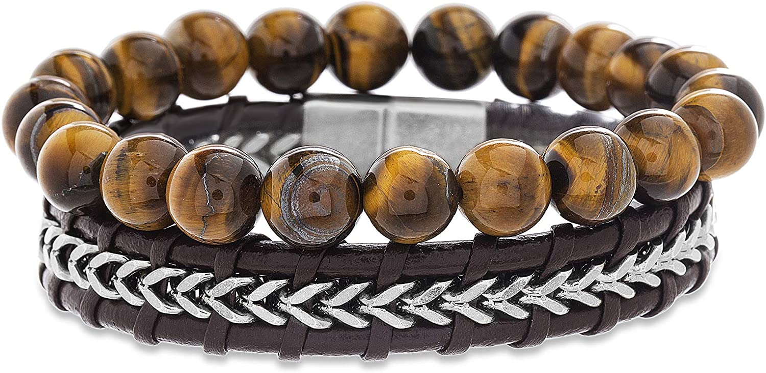 Steve Madden Stainless Steel Leather Stackabl Brown Fees free!! Product Beaded Chain