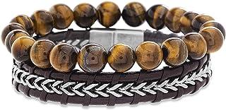 Steve Madden Stainless Steel Leather Chain Brown Beaded Stackable Bracelet for Men
