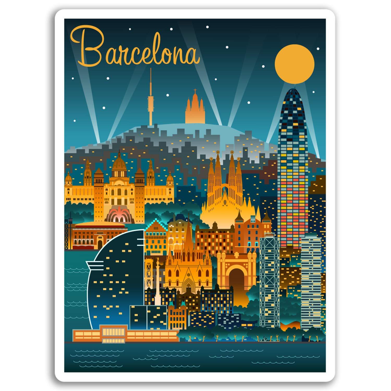 2 x 10 cm, Barcelona, España pegatinas de vinilo - Ciudad de etiqueta de equipaje portátil # 17040 (10 cm de altura): Amazon.es: Hogar