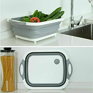Multi-function 3-in-1 Collapsible Cutting Board Foldable Food Strainers,Drain Basket,Folding Drain Basket, Folding Chopping Board for Kitchen
