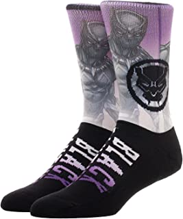 Bioworld Black Panther Movie Sublimated Crew Socks, Purple