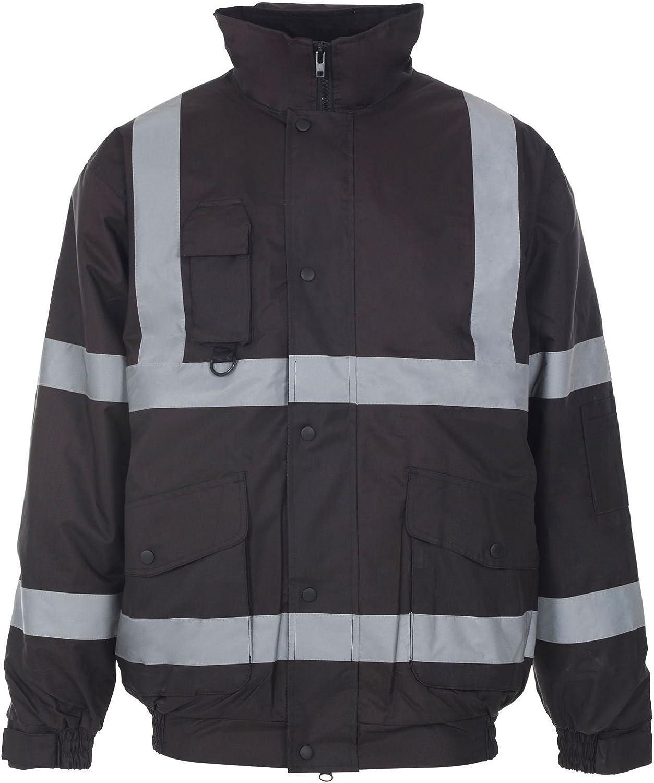 Outofgas Unisex HI VIS Workwear Waterproof Concealed Hood Bomber Jacket Coat