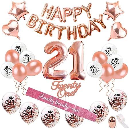 Banner Balloon Happy 21 Hello 21 Birthday Balloons Rose Gold Balloons 21ST BIRTHDAY Gold Silver Letters Tassel Tail Garland Balloon