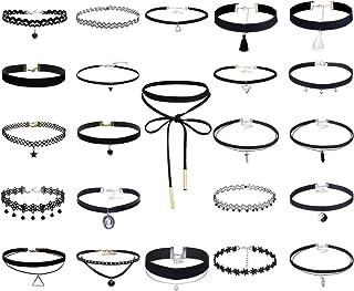 Elegant Rose, set di 23 collane girocollo, chocker in velluto, pizzo; stile: punk, gothic; colore: nero