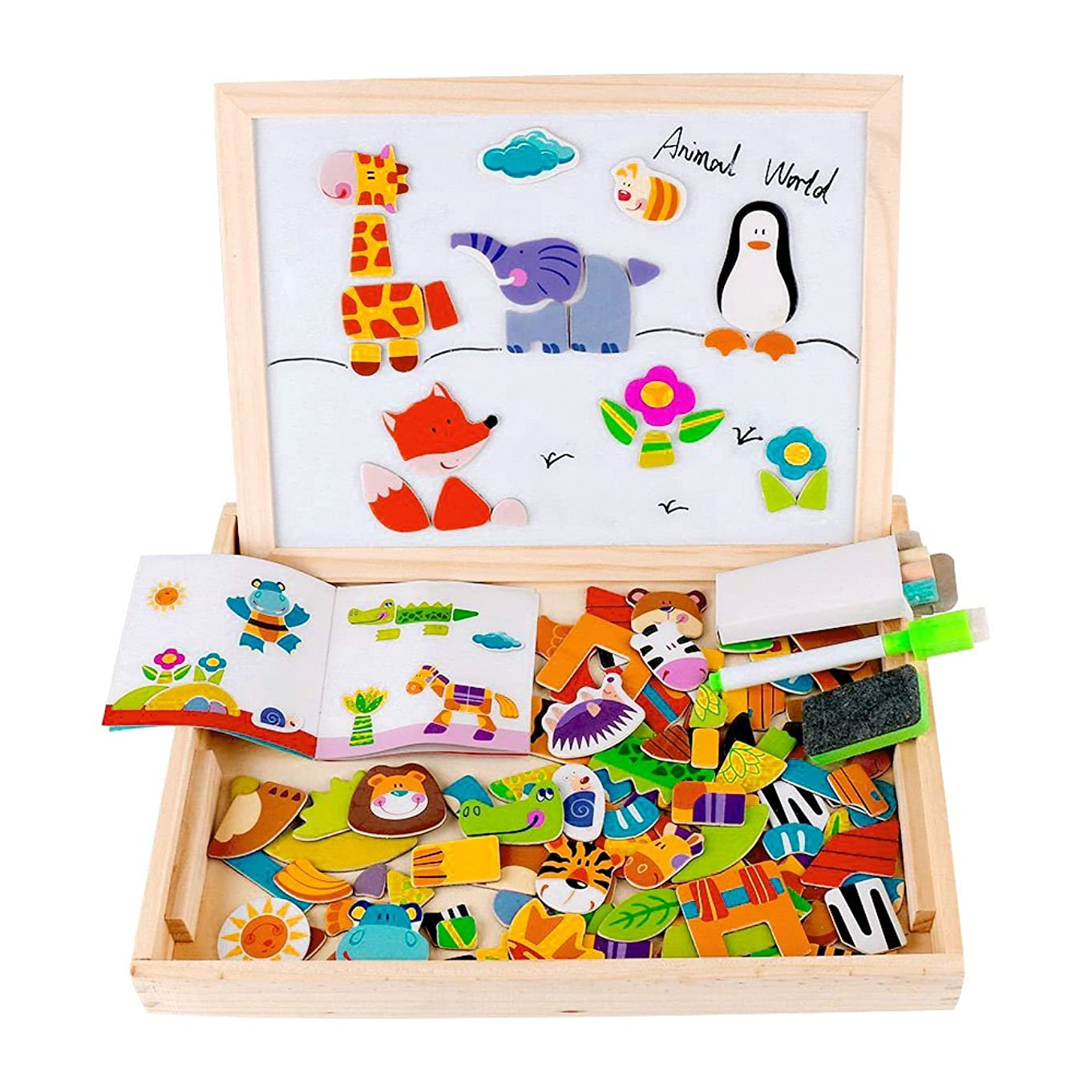 Diwenhouse Magnetic Jigsaw Puzzle Toddler Toys, Multifunctional Wooden Drawing Easel Double Sided with Dry Erase Board & Chalkboard Perfect Educational Toy for Kids (Forest)