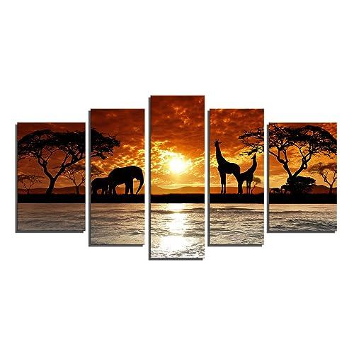 Yin Art 5 Panel Split Canvas Print African Sunset Landscape With Wild Animals Giraffes
