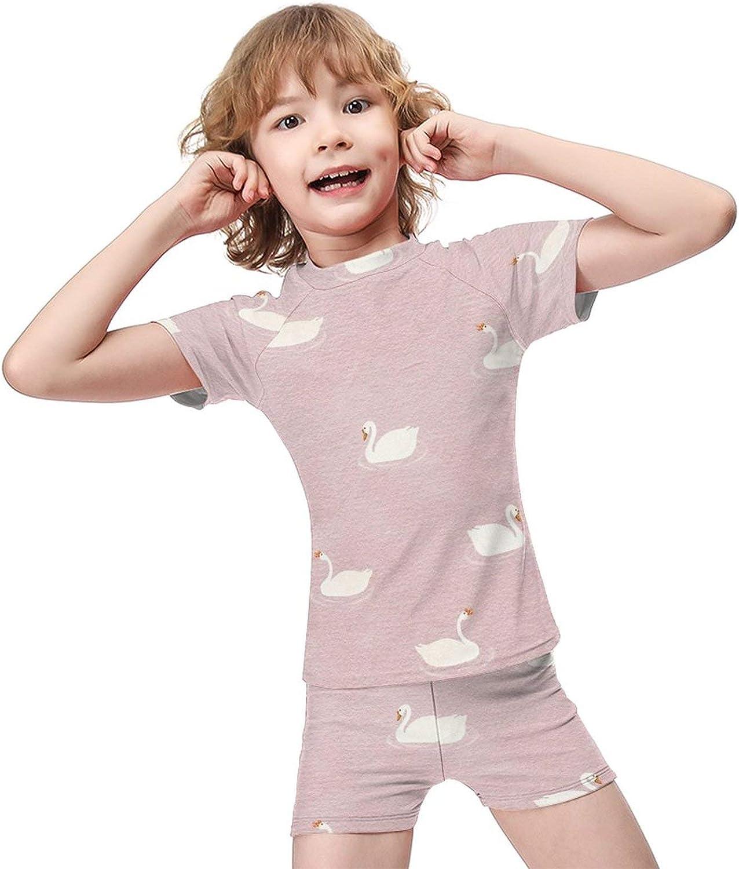 Yiaoflying Kids Boys 2 Piece Swim Set - Swan Rashguard Swimsuit Trunks
