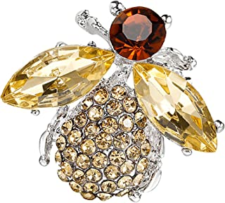 MagiDeal Lovely Girl Champagne Acrylic Honey Bee Brooch Pin Jewelry Rhinestone Brooch