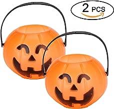 Knemksplanet Halloween Pumpkin Buckets -Plastic Trick or Treat Bags for Halloween Party Favors/Gift Holders, Halloween Candy Bucket (2 Pack-Medium)