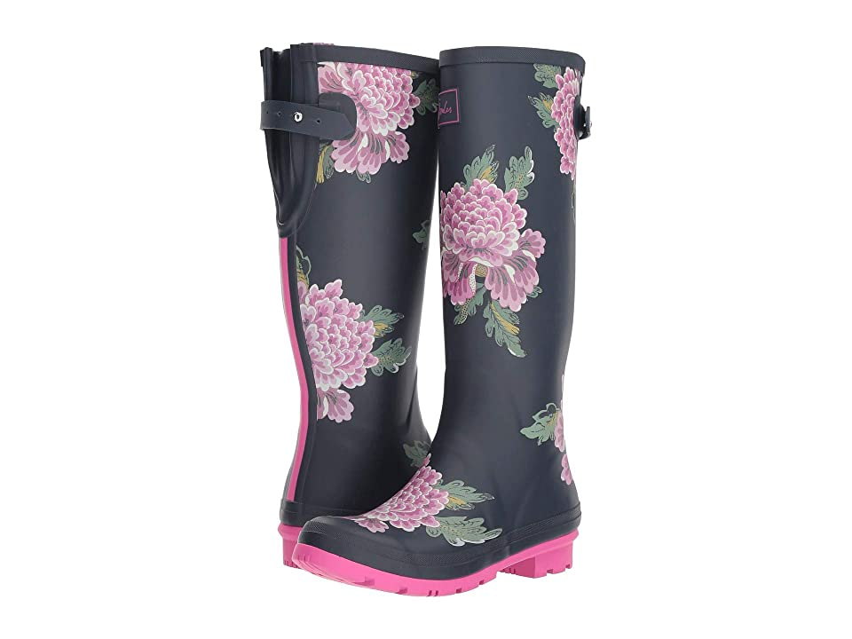 Joules Tall Welly Print (Navy Chinoise) Women