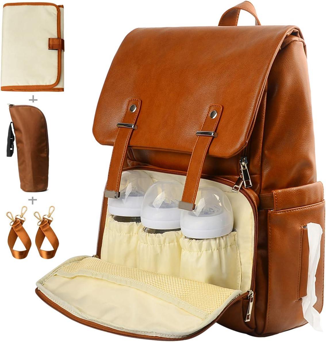 Leather Diaper Bag Backpack, Nappy Bag Baby Bags for Mom Unisex Maternity Diaper Bag with Stroller Hanger|Thermal Pockets|Adjustable Shoulder Straps|Water Proof| LargeCapacity (Brown)