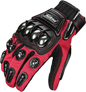 ILM Alloy Steel Touchscreen Bicycle Motorcycle Motorbike Powersports Racing Gloves (L, RED)