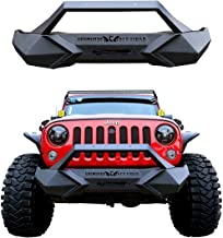 Bosmutus Front Bumper Black Textured Wrangler Rock Crawler Front Bumper Guard Compatible with 2007-2018 Wrangler JK, JKU, Sport,Sahara, Rubicon - Steel +Rust Proof