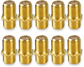 Conwork F81 Splice Connector - 3GHz Female to Female F-Type Coaxial Cable Extension Adapter - Gold-Plated - 10 Pack