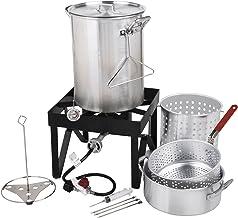 COLIBROX Backyard Pro Deluxe 30 qt Aluminum Turkey Fryer Steamer Kit | 55000 BTU Cast..