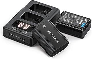 RAVPower NP FW50 Akku (2 Stück) und Intelligente LED USB Ladegerät für Sony Alpha 6000 /6500 /6400 /6300 /7 /7 II /NEX 3/5/7 Series und SLT A Series, 1100mAh Ersatzakku, Micro USB und USB C Eingang