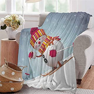 Luoiaax Snowman Children's Blanket Skiing Snowman in 3D Style with Ornate Snowflakes Winter Outdoors Activity Fun Lightweight Soft Warm and Comfortable W57 x L74 Inch Multicolor