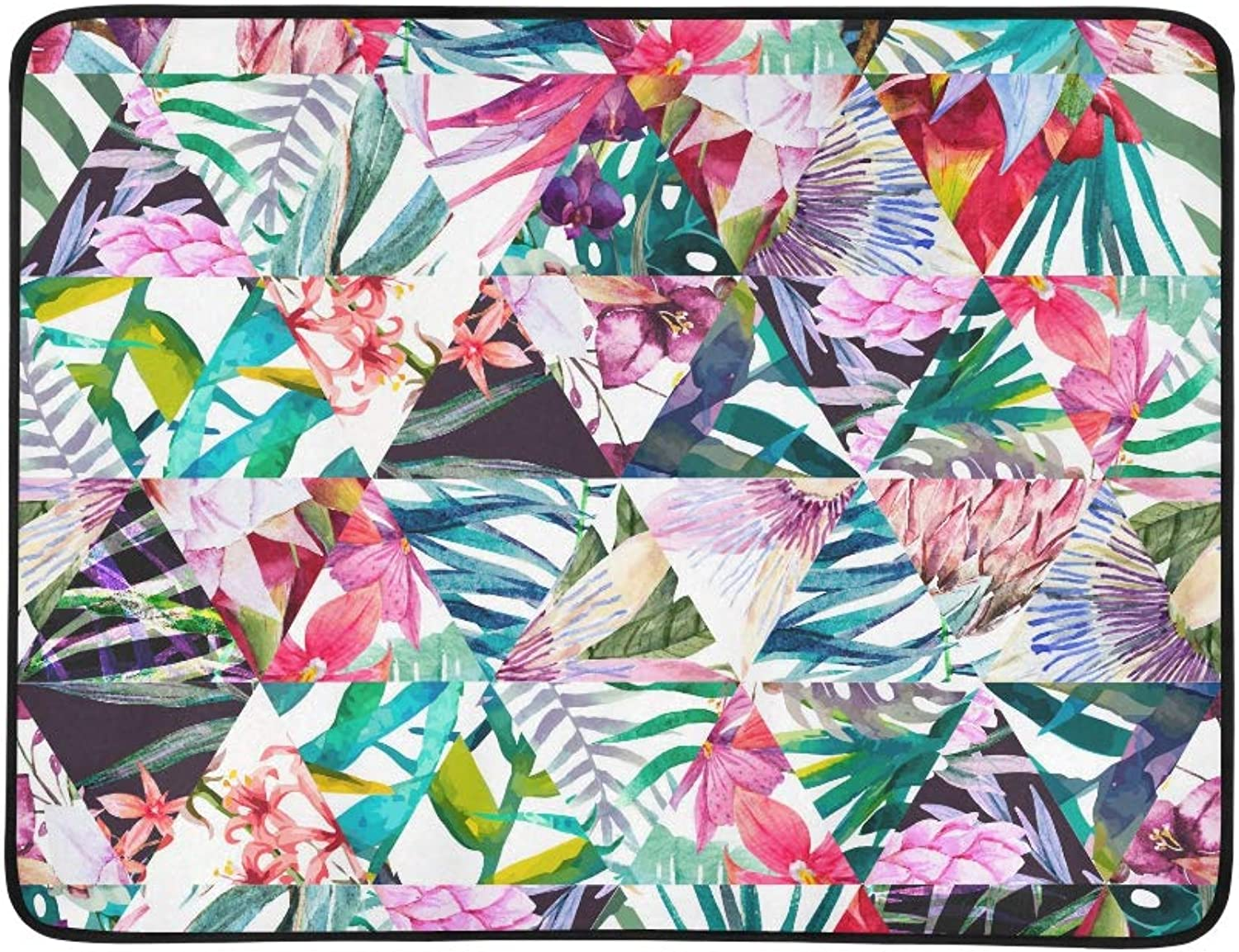 Watercolor Tropical Pattern in Patchwork Style Pattern Portable and Foldable Blanket Mat 60x78 Inch Handy Mat for Camping Picnic Beach Indoor Outdoor Travel