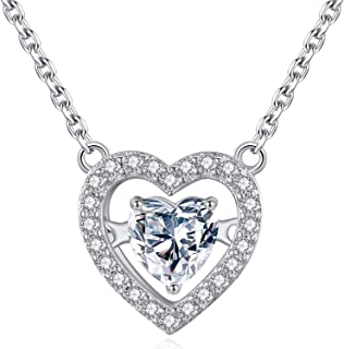 Heart Necklaces for Women – Dancing Cubic Zirconia Pendant Necklace – White Gold-Plated – Precious Love Necklace – Twin Heart Jewelry Allergy Free – Premium Gift for Women