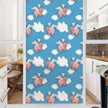 Decorative Window Film,No Glue Frosted Privacy Film,Stained Glass Door Film,Flying Pig Cartoon Characters with Wings to Represent The Saying Great Kid Clouds,for Home & Office,23.6In. by 35.4In