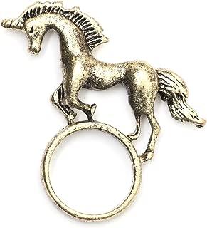 Magic Unicorn Ring Size 6.5 Antique Gold Tone RC23 Fantasy Pegasus Pony Statement Fashion Jewelry