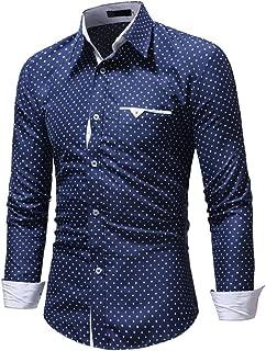 Men's Long Sleeve Dress Shirt Autumn Formal Polka Dot Slim Fit Top Blouse Shirts
