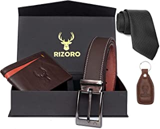 Rizoro Black Brown & Tan Mens Genuine Leather Wallet and Belt Combo for Men with Gifting Box Gift for Men (BWC2209, Waist ...