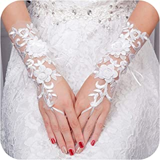 White or Ivory Short Wedding Gloves Fingerless Bridal Gloves for Women Bride Lace Gloves Wedding Accessories