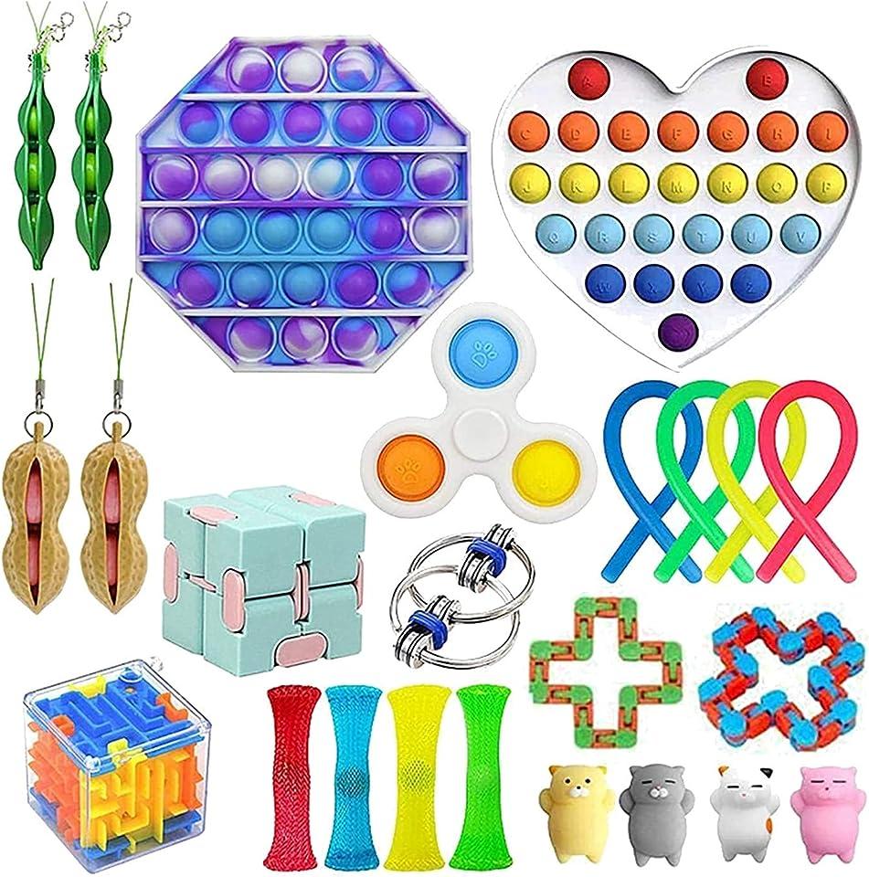 Fidget Toys Set, Pop-it Fidget Toy Anti Stress Spielzeug Angst Relief Finger Toys Autismus for ADHS Squeeze Toys Stressabbau Reliever für Kinder und Erwachsene