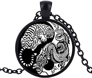Yin Yang Dragon en acier inoxydable collier pendentif charme zen Balance Méditation