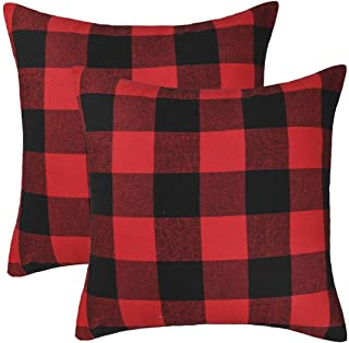 Best 4TH Emotion Set of 2 Christmas Buffalo Check Plaid Throw Pillow Covers for Christmas Decorations Cushion Case Cotton Polyester for Farmhouse Home Decor Red and Black, 18 x 18 Inches Review