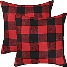4TH Emotion Set of 2 Christmas Buffalo Check Plaid Throw Pillow Covers for Christmas..