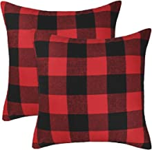 4TH Emotion Set of 2 Christmas Buffalo Check Plaid Throw Pillow Covers Cushion Case Cotton Polyester for Farmhouse Home Decor Red and Black, 22 x 22 Inches