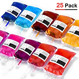 Blood Energy Drink Bag Drink Container IV Bags 350ml, Blood bags Party Favour Drinking Cups (Transparent, 25)