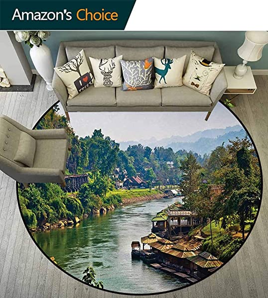 Asian Modern Machine Washable Round Bath Mat River Kwai Living House Tropic Thailand Village Attractions Scenery Print Non Slip Soft Floor Mat Home Decor Diameter 59 Inch Forest Green Turquoise