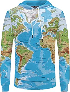 e109e7eadbd KYKU Men Women 3D Printed Hoodies World Map Plus Sweatshirts Pullover Big  Pocket