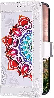 Uposao Kompatibel med Huawei Mate 10 Pro fodral plånbok läder mobiltelefonfodral färgglada mandala blommor flip-fodral plå...