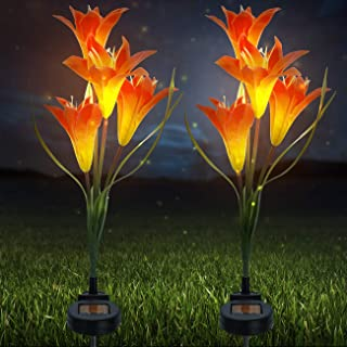 Sorbus LED Flower Light Lily Stakes, 2 Pack Solar Multi-Color Changing 8 LED Outdoor Garden Flowers, Lawn, Garden, Patio, Night Lighting, Path Walkway, Gravestones, Wedding, (2 Orange Color Changing)