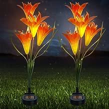 Sorbus 太阳能灯花百合桩,户外 LED 花园花,适合夜间照明,太阳路径走廊,草坪,花园,池塘,露台,墓地,特殊场合等 橙色 SLR-FLR-ORA