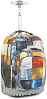 Kids Rolling Backpack 18 inch Boys and Girls Laptop Backpack, Square