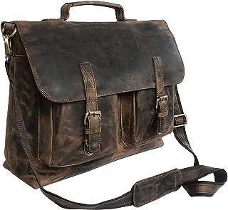 """Dhk Devil Hunter Killer KK """"s 45,7 cm Retro Buffalo Hunter Leder Laptop Messenger Bag Büro Aktentasche College Tasche Leder Tasche für Damen und Herren"""