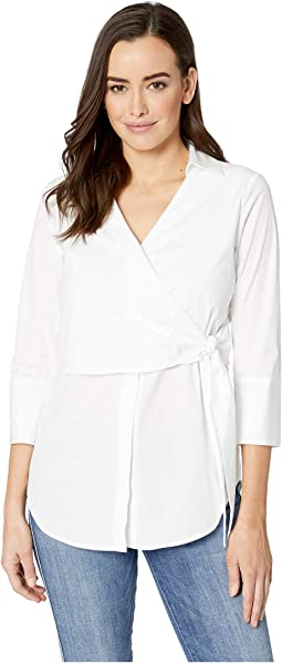 White on White Tie Front Wrap Shirt