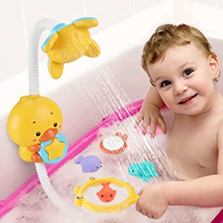 JoyGrow Baby Bath Toys Electric Duck Water Pump with Hand Shower Sprinkler for Kids,Water Squirt Shower Faucet with Suctio...