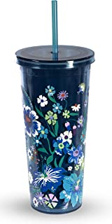 Vera Bradley Acrylic Insulated Travel Tumbler with Reusable Straw, 24 Ounces, Moonlight Garden, Large