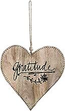 DEMDACO Gratitude Natural Brown 10 x 10 Mango Wood and Jute Decorative Heart Plaque
